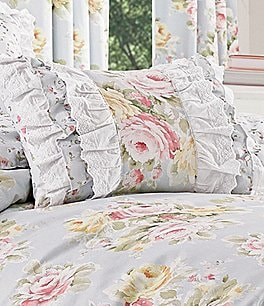 Image of Piper & Wright Stella Ruffled Eyelet-Trimmed Floral Boudoir Pillow