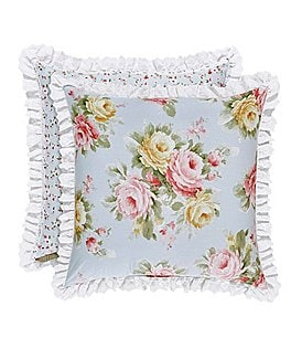 Image of Piper & Wright Stella Ruffled Eyelet-Trimmed Floral Reversible Square Pillow