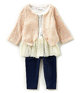 Image of Pippa & Julie Baby Girls 12-24 Months Cardigan Sweater, Tunic Top, & Leggings 3-Piece Set