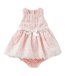 Image of Pippa & Julie Baby Girls 12-24 Months Embroidered Ribbon-Waist Dress