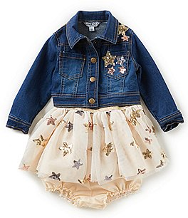 Image of Pippa & Julie Baby Girls 12-24 Months Foiled Star Dress & Star Denim Jacket