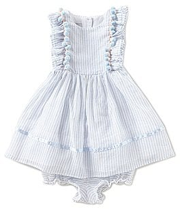 Image of Pippa & Julie Baby Girls 12-24 Months Pom Pom Flutter-Sleeve Striped Dress
