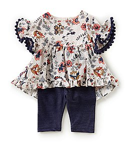 Image of Pippa & Julie Baby Girls 12-24 Months Printed Tunic Top & Solid Leggings Set
