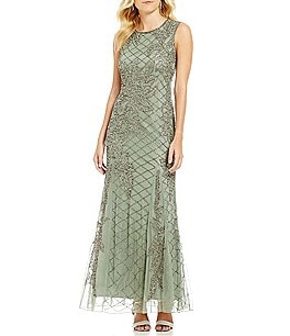 Image of Pisarro Nights Sleeveless Crosshatch Beaded Gown