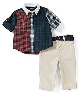 Image of Ralph Lauren Childrenswear Baby Boys 3-24 Months Plaid Shirt & Solid Pant Set