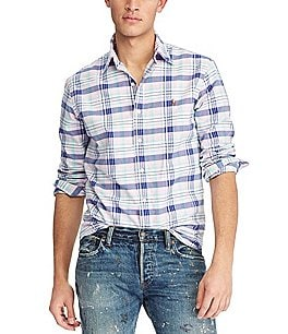 Image of Polo Ralph Lauren Plaid Oxford Long-Sleeve Woven Shirt