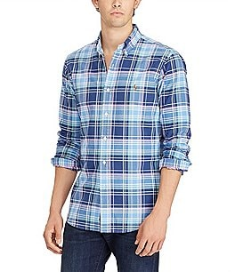 Image of Polo Ralph Lauren Madras Plaid Oxford Long-Sleeve Woven Shirt