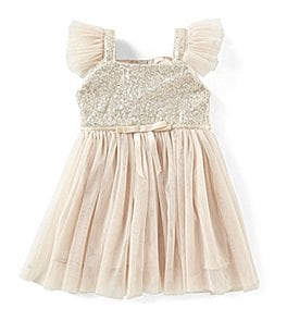 Image of Popatu Baby Girls 12-24 Months Glitter Flutter-Sleeve Tulle Dress
