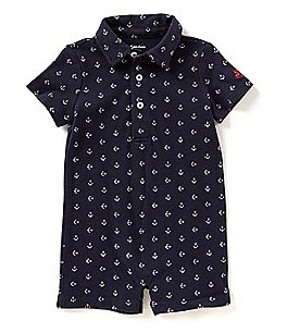 Image of Ralph Lauren Childrenswear Baby Boys 3-12 Months Anchor-Printed Mesh Polo Shortall