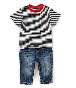 Image of Ralph Lauren Childrenswear Baby Boys 3-24 Months Striped Tee & Jeans Set