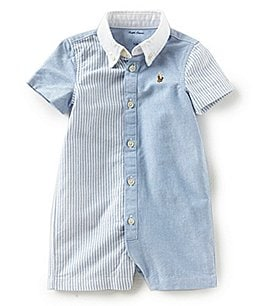 Image of Ralph Lauren Childrenswear Baby Boys 3-12 Months Mixed-Media Oxford Shortall