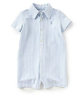 Image of Ralph Lauren Childrenswear Baby Boys 3-12 Months Short-Sleeve Gingham Shortall