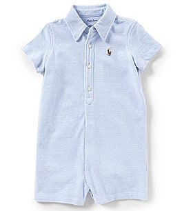 Image of Ralph Lauren Childrenswear Baby Boys 3-12 Months Short-Sleeve Oxford-Knit Shortall