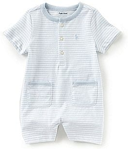 Image of Ralph Lauren Childrenswear Baby Boys 3-12 Months Short-Sleeve Striped Shortall