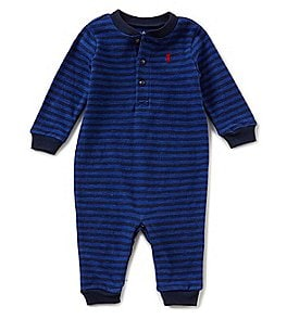 Image of Ralph Lauren Childrenswear Baby Boys 3-12 Months Striped Jersey Coverall