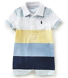 Image of Ralph Lauren Childrenswear Baby Boys 3-12 Months Striped Short-Sleeve Shortall