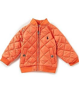 Image of Ralph Lauren Childrenswear Baby Boys 3-24 Months Diamond-Quilted Microfiber Baseball Jacket