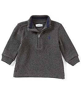 Image of Ralph Lauren Childrenswear Baby Boys 3-24 Months French-Rib Half-Zip Pullover