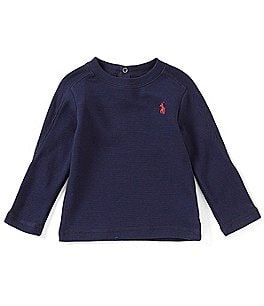 Image of Ralph Lauren Childrenswear Baby Boys 3-24 Months Long-Sleeve Waffle-Knit Tee