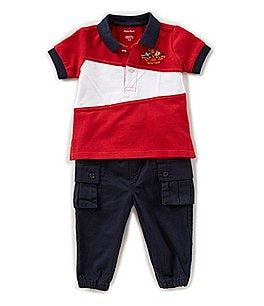 Image of Ralph Lauren Childrenswear Baby Boys 3-24 Months Short-Sleeve Pieced Polo Shirt & Solid Pant Set