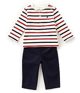 Image of Ralph Lauren Childrenswear Baby Boys 3-24 Months Striped Henley Tee & Pant Set