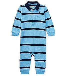 Image of Ralph Lauren Childrenswear Baby Boys 3-9 Months Rugby-Stripe Coveralls