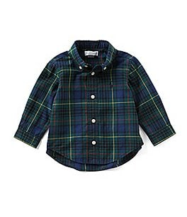 Image of Ralph Lauren Childrenswear Baby Boys 6-24 Months Plaid Long-Sleeve Poplin Shirt
