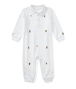 Image of Ralph Lauren Childrenswear Baby Boys Newborn-12 Months Embroidered Schiffli Coverall