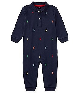 Image of Ralph Lauren Childrenswear Baby Boys Newborn-12 Months Schiffli-Embroidered Coverall