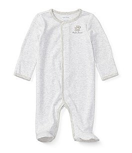Image of Ralph Lauren Childrenswear Baby Boys Newborn-9 Months Long-Sleeve Striped Footed Coverall