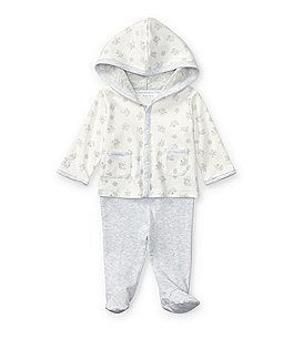 Image of Ralph Lauren Childrenswear Baby Boys Newborn-9 Months Mixed-Media Hoodie & Striped Footed Pant Set