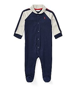 Image of Ralph Lauren Childrenswear Baby Boys Newborn-9 Months Shawl Collar Footed Coverall