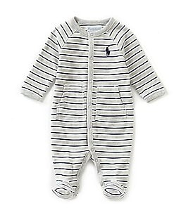 Image of Ralph Lauren Childrenswear Baby Boys Newborn-9 Months Striped Footed Coverall