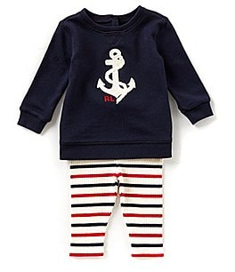 Image of Ralph Lauren Childrenswear Baby Girls 3-24 Months Anchor French Terry Top & Striped Leggings Set