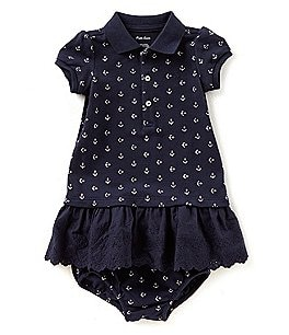 Image of Ralph Lauren Childrenswear Baby Girls 3-24 Months Anchor-Printed Drop-Waist Polo Dress