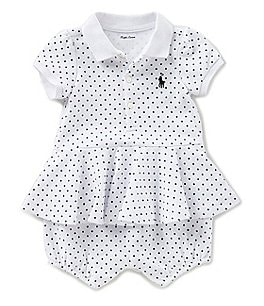 Image of Ralph Lauren Childrenswear Baby Girls 3-24 Months Dotted Peplum-Hem Romper