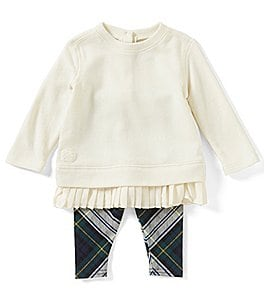 Image of Ralph Lauren Childrenswear Baby Girls 3-24 Months Fleece Sweatshirt & Tartan-Plaid Leggings Set