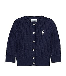 Image of Ralph Lauren Childrenswear Baby Girls 3-24 Months Mini Cable-Knit Cardigan