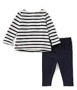 Image of Ralph Lauren Childrenswear Baby Girls 3-24 Months Nautical-Stripe Top & Solid Pant Set