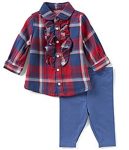 Image of Ralph Lauren Childrenswear Baby Girls 3-24 Months Plaid Top & Solid Leggings Set
