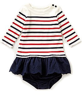 Image of Ralph Lauren Childrenswear Baby Girls 3-24 Months Striped Knit/Solid Eyelet Dress