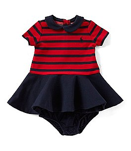 Image of Ralph Lauren Childrenswear Baby Girls 3-24 Months Striped/Solid Pleated Ponte Dress