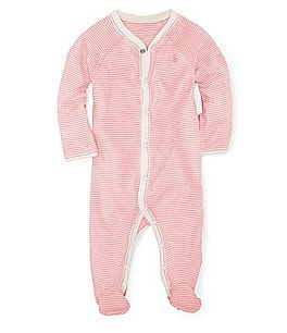 Image of Ralph Lauren Childrenswear Baby Girls Newborn-9 Months Striped Footed Coveralls