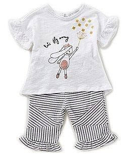 Image of Rare Editions Baby Girls 12-24 Months Bunny Top & Striped Seersucker Pant Set