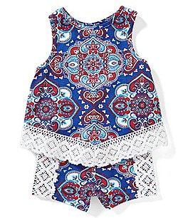 Image of Rare Editions Baby Girls 12-24 Months Americana Tank Top & Shorts Set