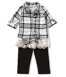 Image of Rare Editions Baby Girls 12-24 Months Button-Down Plaid Shirt & Leggings Set