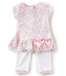 Image of Rare Editions Baby Girls 12-24 Months Diamond-Patterned-Lace Dress & Solid Leggings Set