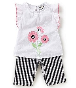 Image of Rare Editions Baby Girls 12-24 Months Flower-Appliqued Top & Gingham-Printed Leggings Set