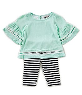 Image of Rare Editions Baby Girls 12-24 Months Gauze Trimmed Top & Striped Leggings Set