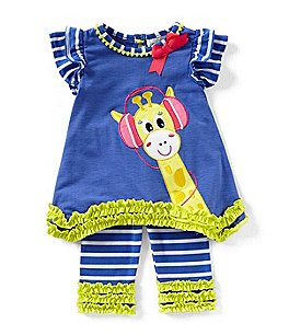 Image of Rare Editions Baby Girls 12-24 Months Giraffe-Applique Tee & Stripe Capri Leggings Set